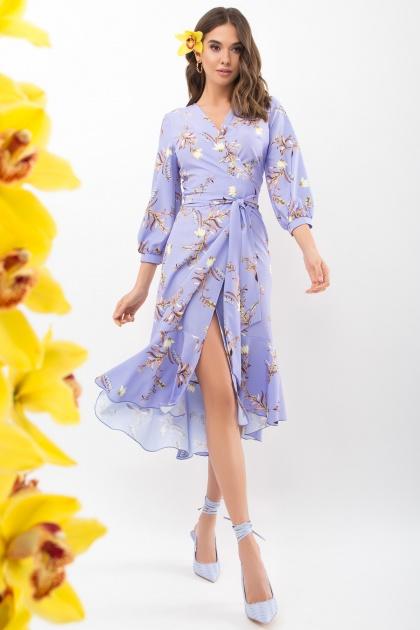 платье на запах из софта. Платье Сафура 3/4. Цвет: джинс-ветка