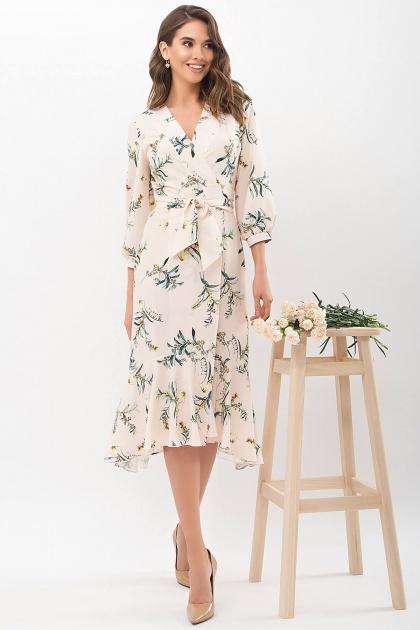 платье на запах из софта. Платье Сафура 3/4. Цвет: персик-ветка