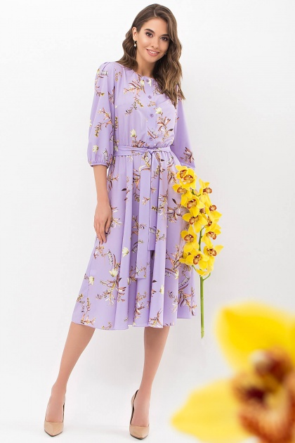 . Платье Сауле 3/4. Цвет: лавандовый-ветка