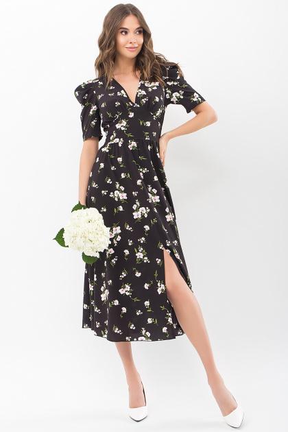 . Платье Фариза к/р. Цвет: черный-белый букет