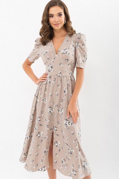 . Платье Фариза к/р. Цвет: бежевый-белый букет