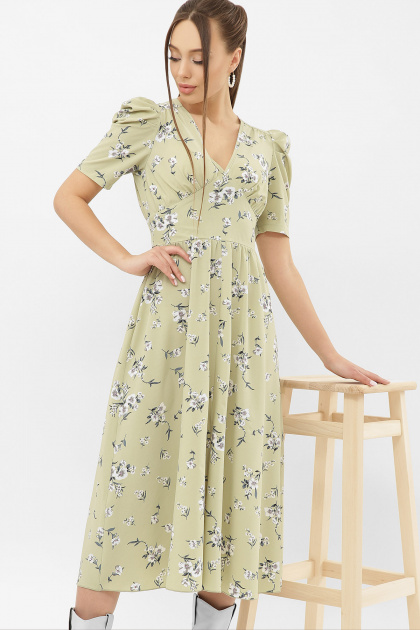 . Платье Фариза к/р. Цвет: оливка-белый букет