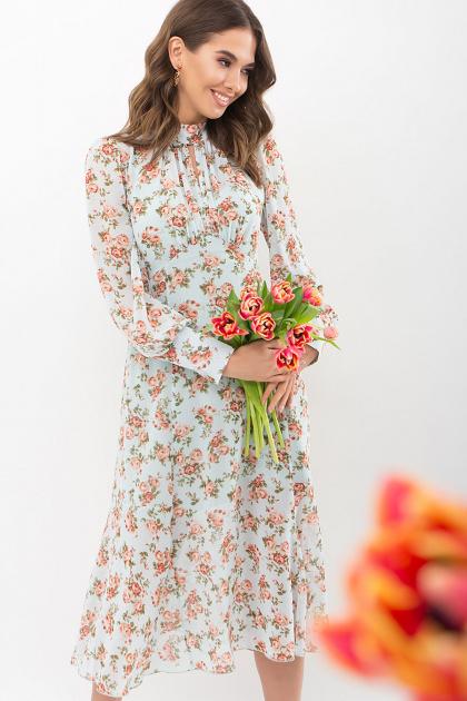. Платье Мануэла д/р. Цвет: мята-персик Розы