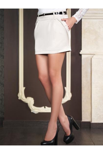 белая юбка с карманами. юбка мод. №4. Цвет: молоко