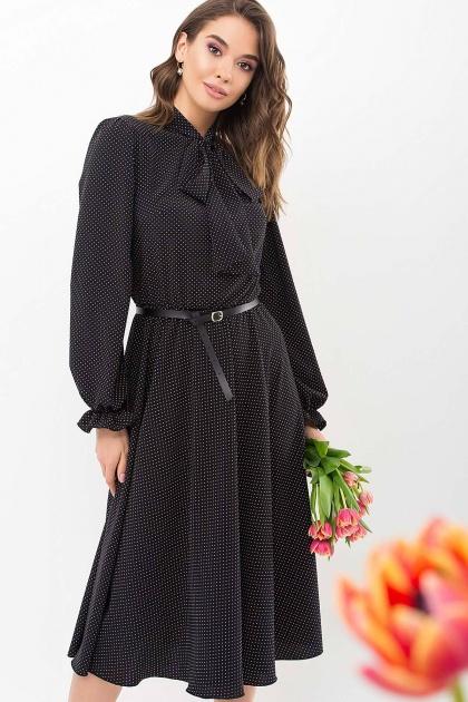 . Платье Дельфия д/р. Цвет: черный-белый м. горох
