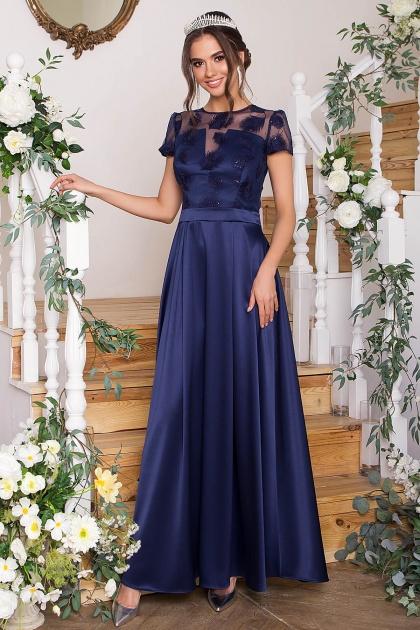 синее платье в пол. Платье Лорена к/р. Цвет: синий