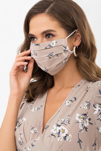защитная черная маска. Маска №1. Цвет: бежевый-белый букет