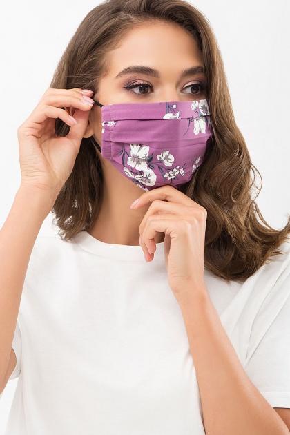 защитная черная маска. Маска №1. Цвет: фрез-белый букет