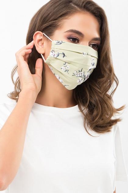защитная черная маска. Маска №1. Цвет: оливка-белый букет