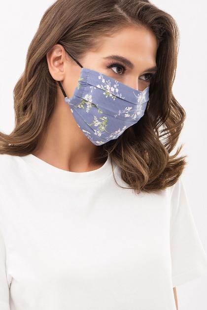защитная черная маска. Маска №1. Цвет: джинс-полевые цветы
