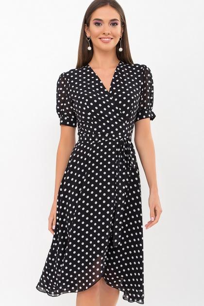 . Платье Алеста к/р. Цвет: черный-белый горох