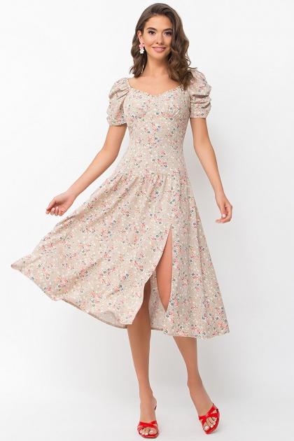 . Платье Никси к/р. Цвет: бежевый-м.букет