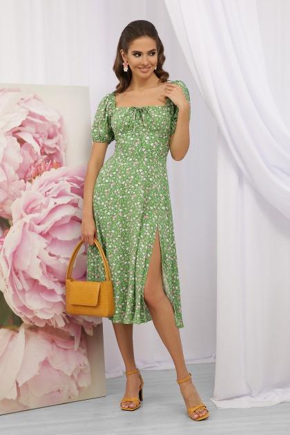 . Платье Билла к/р. Цвет: зеленый-розов. Розы
