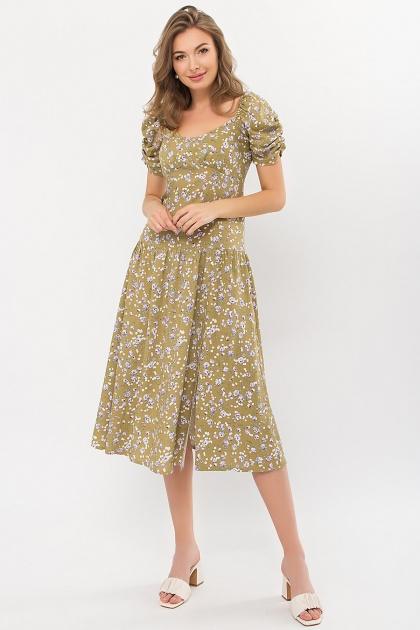 . Платье Никси к/р. Цвет: оливковый-сиреньРозы