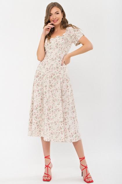 . Платье Никси к/р. Цвет: молоко-персик.Розы