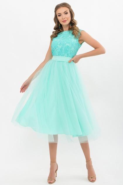 пышное платье миди. Платье Джуди б/р. Цвет: ментол