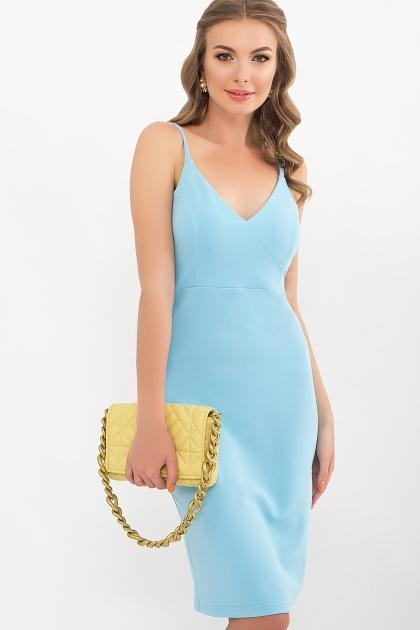 черное платье на тонких бретелях. Платье Кеори б/р. Цвет: голубой