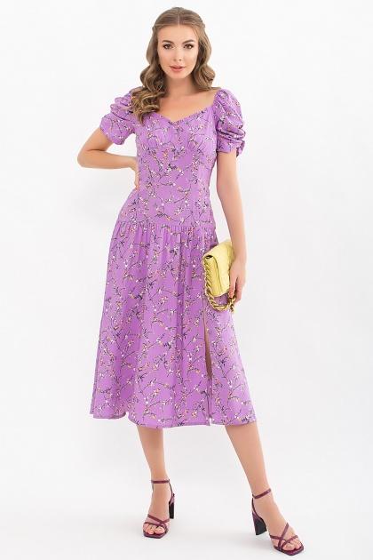 . Платье Никси к/р. Цвет: лиловый-цветы веточки
