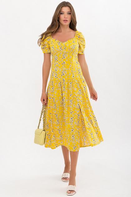 . Платье Никси к/р. Цвет: желтый-белые цветы