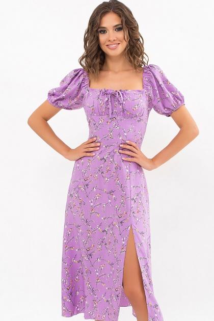 . Платье Билла к/р. Цвет: лиловый-цветы веточки