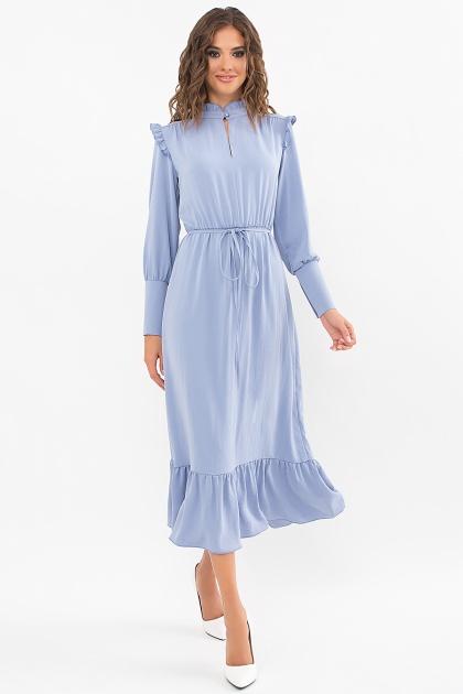 изумрудное платье миди. Платье Фернанда д/р. Цвет: джинс