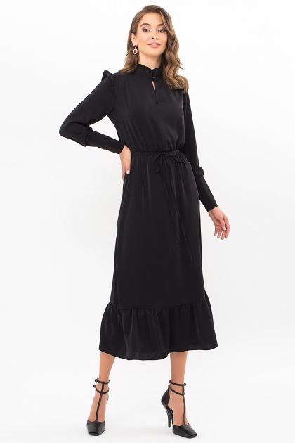 изумрудное платье миди. Платье Фернанда д/р. Цвет: черный