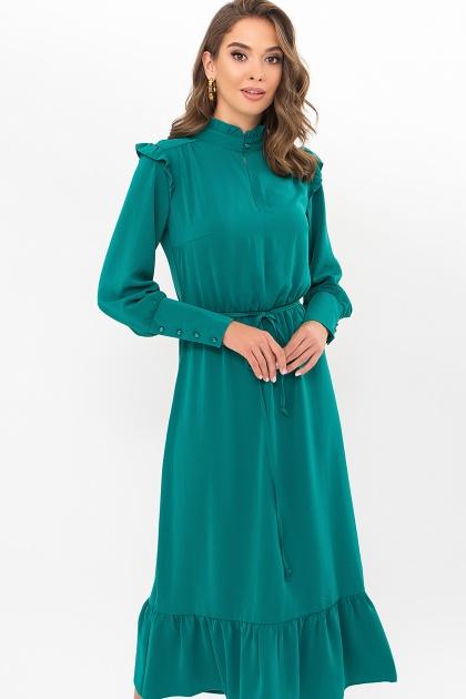 изумрудное платье миди. Платье Фернанда д/р. Цвет: изумруд