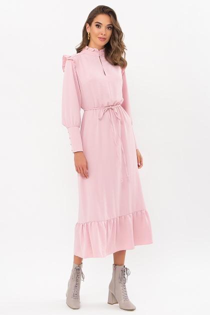 изумрудное платье миди. Платье Фернанда д/р. Цвет: пудра