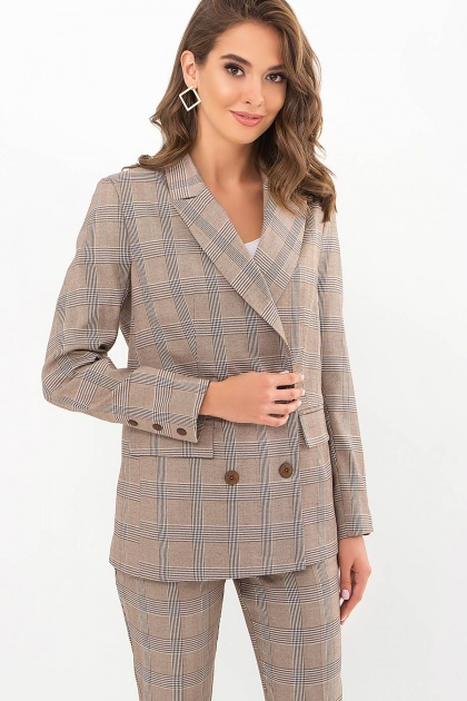 двубортный пиджак в клетку. Пиджак Элейн К д/р. Цвет: клетка коричнево-синяя