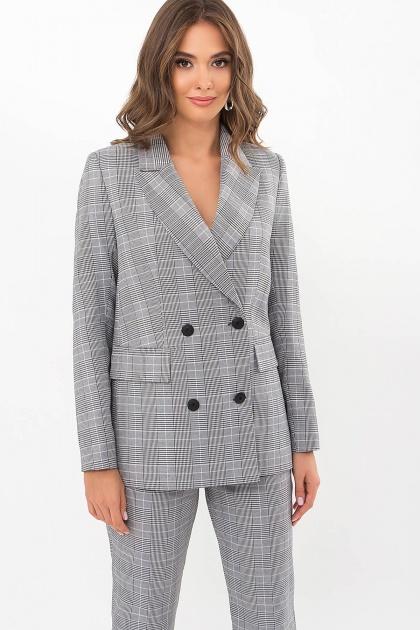 двубортный пиджак в клетку. Пиджак Элейн К д/р. Цвет: клетка черно-белая