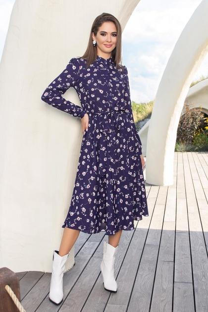 платье синего цвета с ромашками. Платье Изольда-1 д/р. Цвет: синий-ромашки
