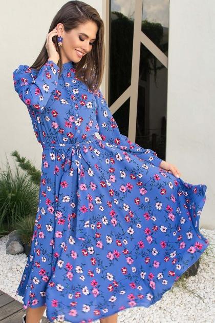 платье синего цвета с ромашками. Платье Изольда-1 д/р. Цвет: джинс-цветочки