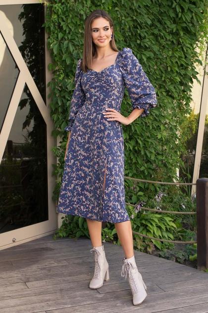 . Платье Пала д/р. Цвет: т.джинс-коралл цветок