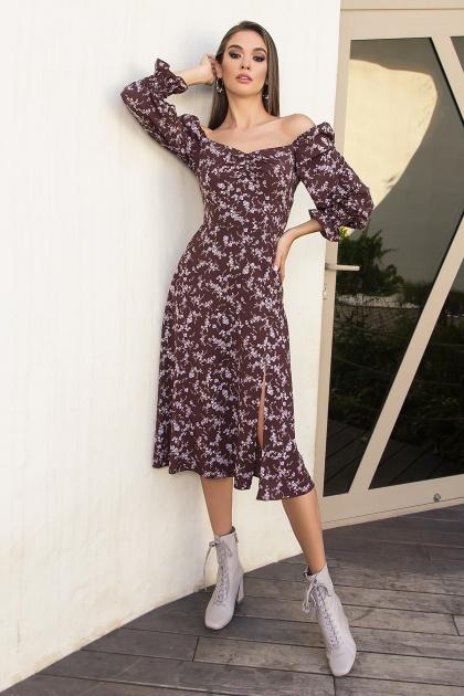 . Платье Пала д/р. Цвет: шоколад-сирен.цветок