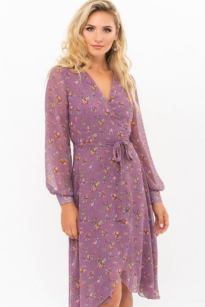 нежное платье на запах. Платье Алеста д/р. Цвет: лиловый-букет Роз