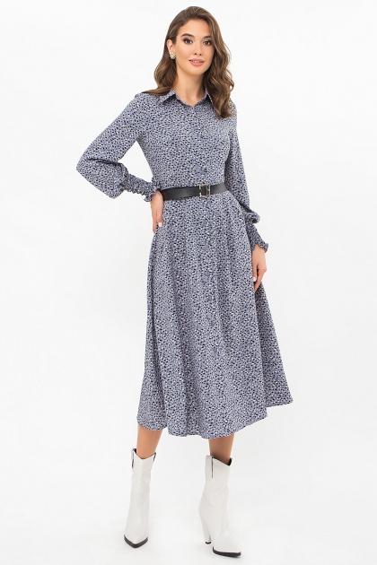синее платье с поясом. Платье Кария д/р. Цвет: джинс-разноцв.пятна