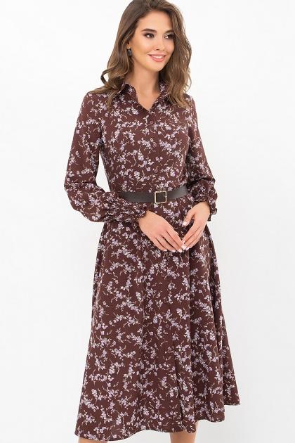 синее платье с поясом. Платье Кария д/р. Цвет: шоколад-сирен.цветок