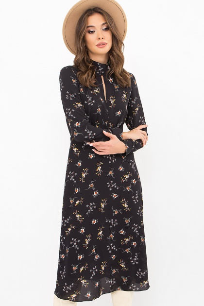 . Платье Санторини д/р. Цвет: черный-м.букет