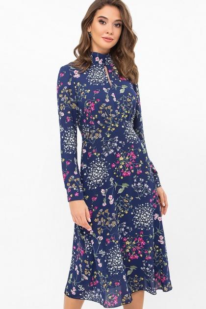 . Платье Санторини д/р. Цвет: синий-полевые цветы