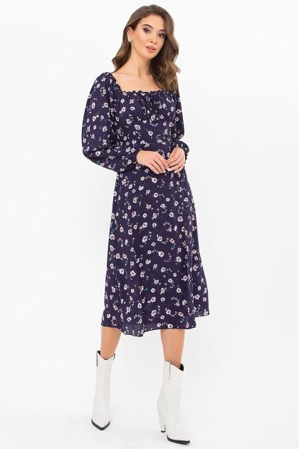 лавандовое платье с цветочным принтом. Платье Валия д/р. Цвет: синий-ромашки