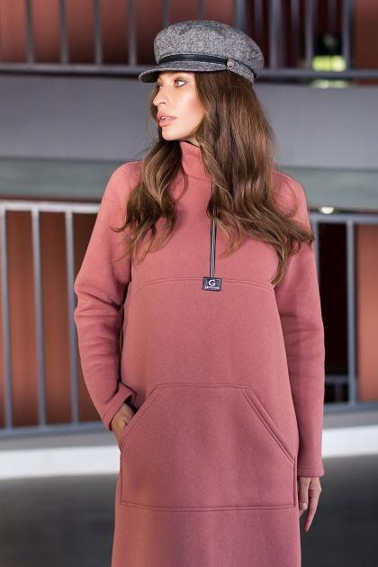 розовое спортивное платье. Платье Айсин д/р. Цвет: розовый персик