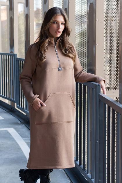 розовое спортивное платье. Платье Айсин д/р. Цвет: капучино