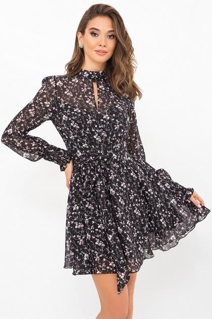 шифоновое платье мини. Платье Рина д/р. Цвет: черный-цветы веточки