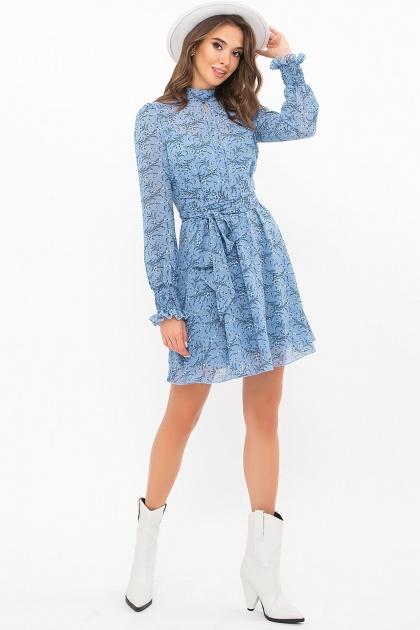 шифоновое платье мини. Платье Рина д/р. Цвет: голубой-цветы веточки
