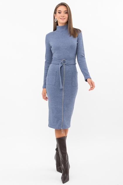 теплое платье-футляр. Платье Виталина 1 д/р. Цвет: джинс