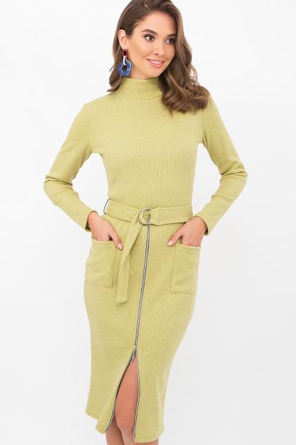 теплое платье-футляр. Платье Виталина 1 д/р. Цвет: оливковый
