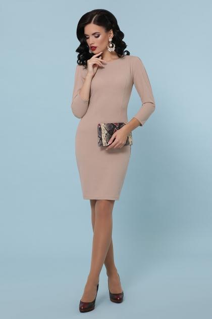 Платье выше колен темно-синего цвета. Платье Модеста д/р. Цвет: бежевый купить