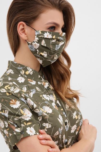 тканевая маска в горошек. Маска №1. Цвет: хаки- цветы купить