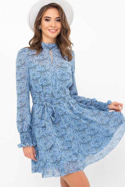 шифоновое платье мини. Платье Рина д/р. Цвет: голубой-цветы веточки купить