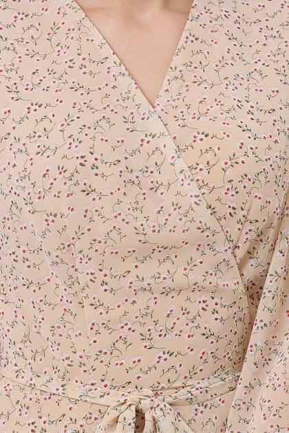 нежное платье на запах. Платье Алеста д/р. Цвет: бежевый-цветы м. в Украине